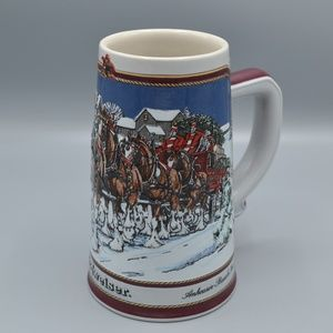 Beer Stein 1989 Clydesdale Bud Budweiser Holiday